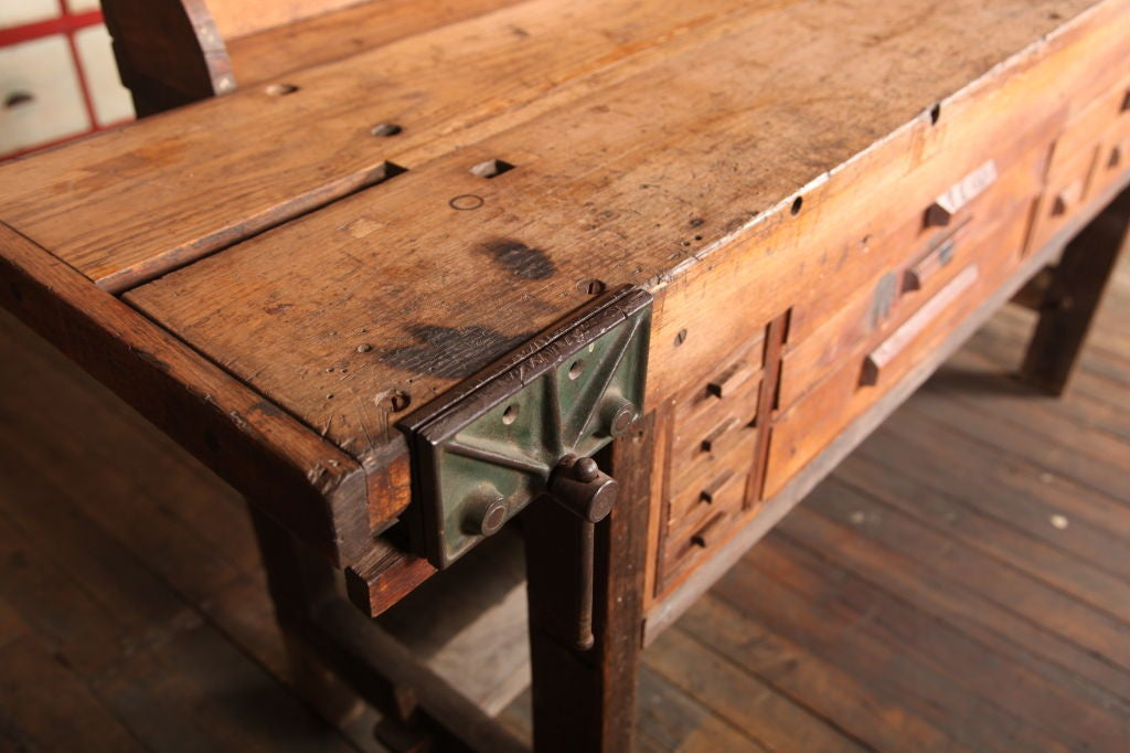 Original Vintage, American Made, Oak Work Bench with Vice 2