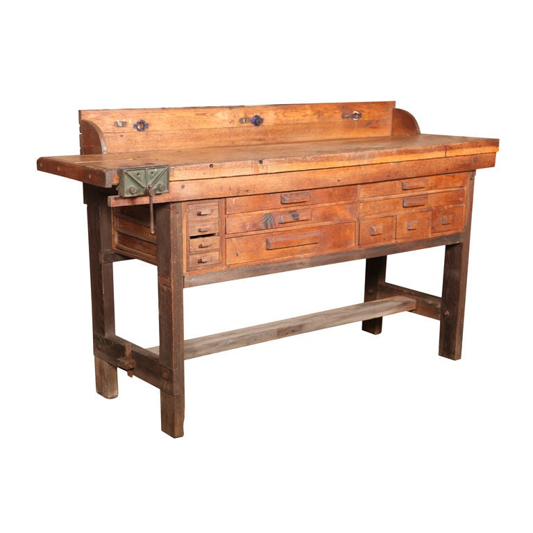 Original Vintage American Made Oak Work Bench With Vice