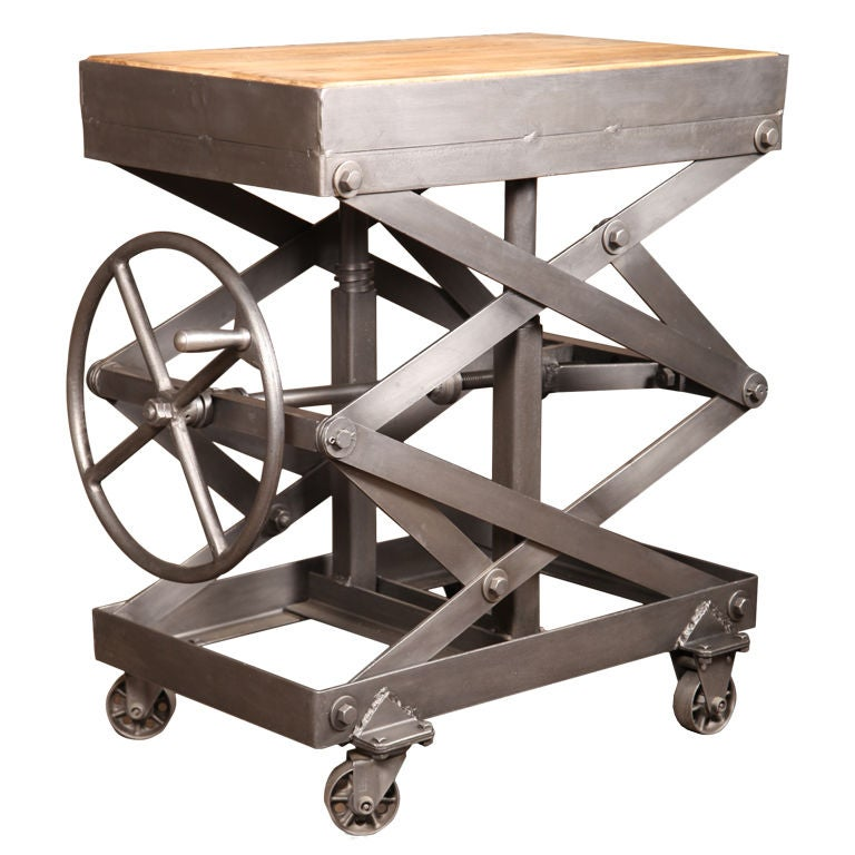 Original Vintage Industrial American Made Scissor Lift Table