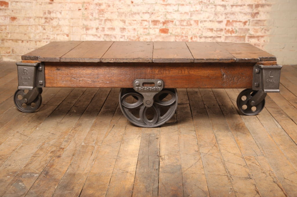 Vintage Industrial Rustic Wood Cast Iron Factory Coffee Table Rolling Cart 2