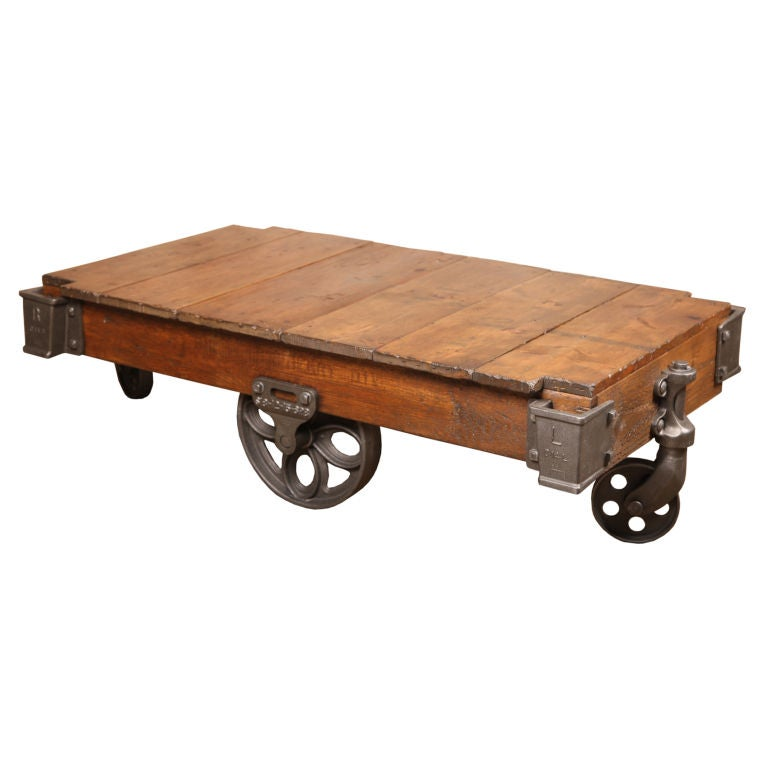 Vintage Industrial Rustic Wood And Cast Iron Factory Coffee Table Rolling Cart For Sale At 1stdibs