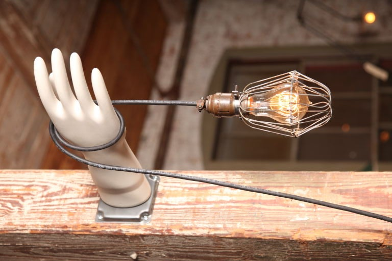 Original, vintage Industrial, caged Edison bulb hand glove mold lamp, light, wall sconce.