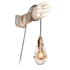 Vintage Industrial Caged Edison Blub Glove Mold Lamp, Light, Wall Sconce