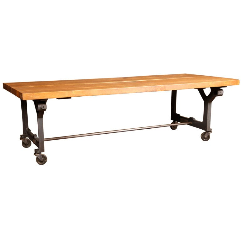 Vintage Industrial Rustic Wood Steel Cast Iron Rolling Display Coffee Table For Sale At 1stdibs