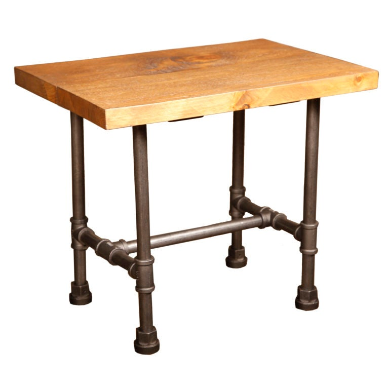 Vintage industrial cast iron steel and wood rustic custom for Wood and metal kitchen table