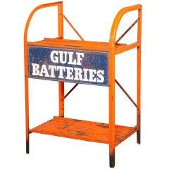 """Original, Vintage Industrial, American , """"Gulf Batteries"""" Rack"""