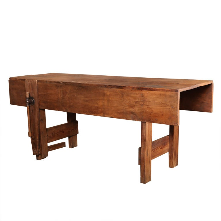 Rustic Table Vintage Industrial American Made Carpenters Workbench With Vise For Sale At 1stdibs