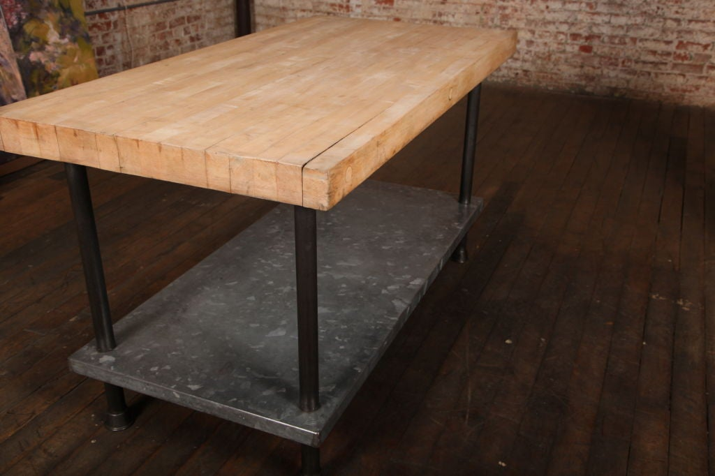 20th Century Original, Vintage Industrial, American Made Butcher Block Table  For Sale