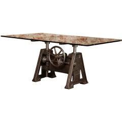 Original, Vintage Industrial, American Made, Adj. Table Base