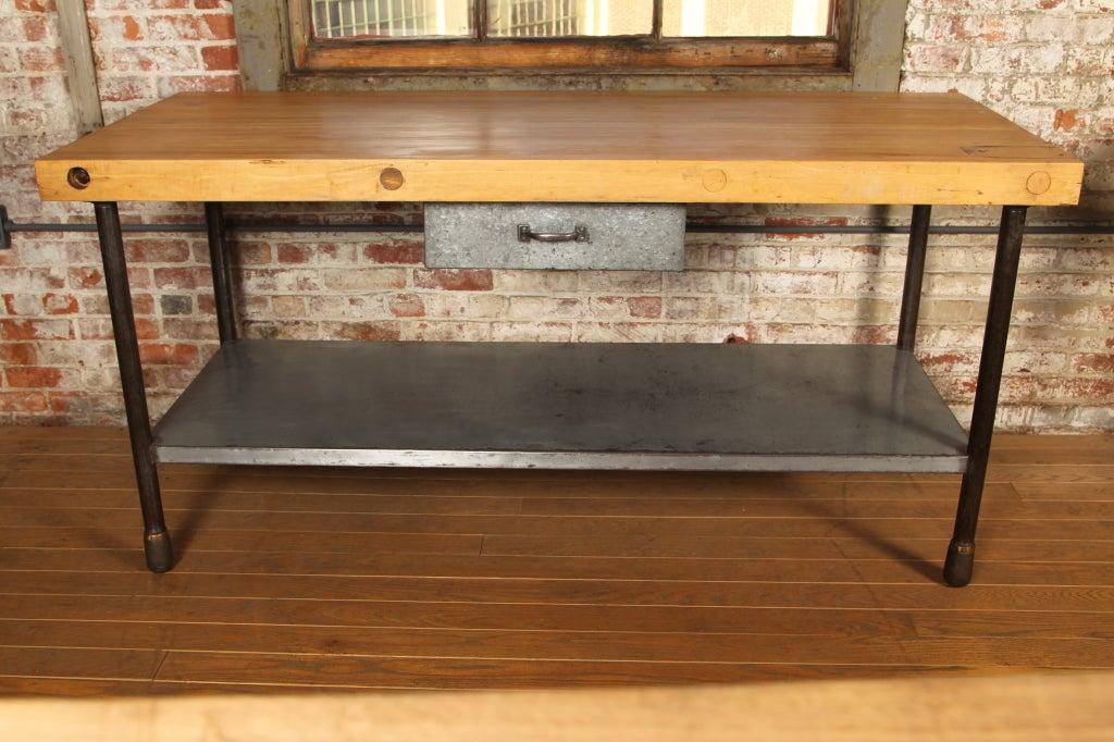 Original Vintage Industrial American Made Butcher Block Table