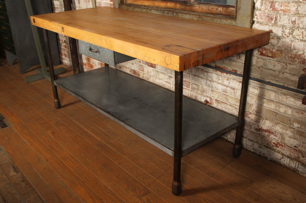 Original vintage industrial american made butcher block table image