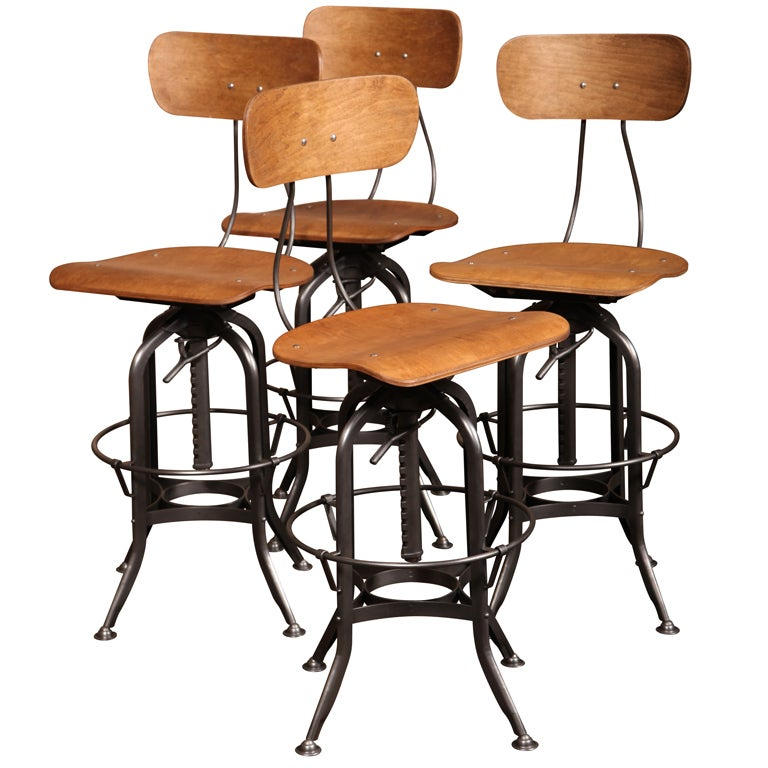 Set of 4 Original Vintage Industrial Toledo Bar Stools 1