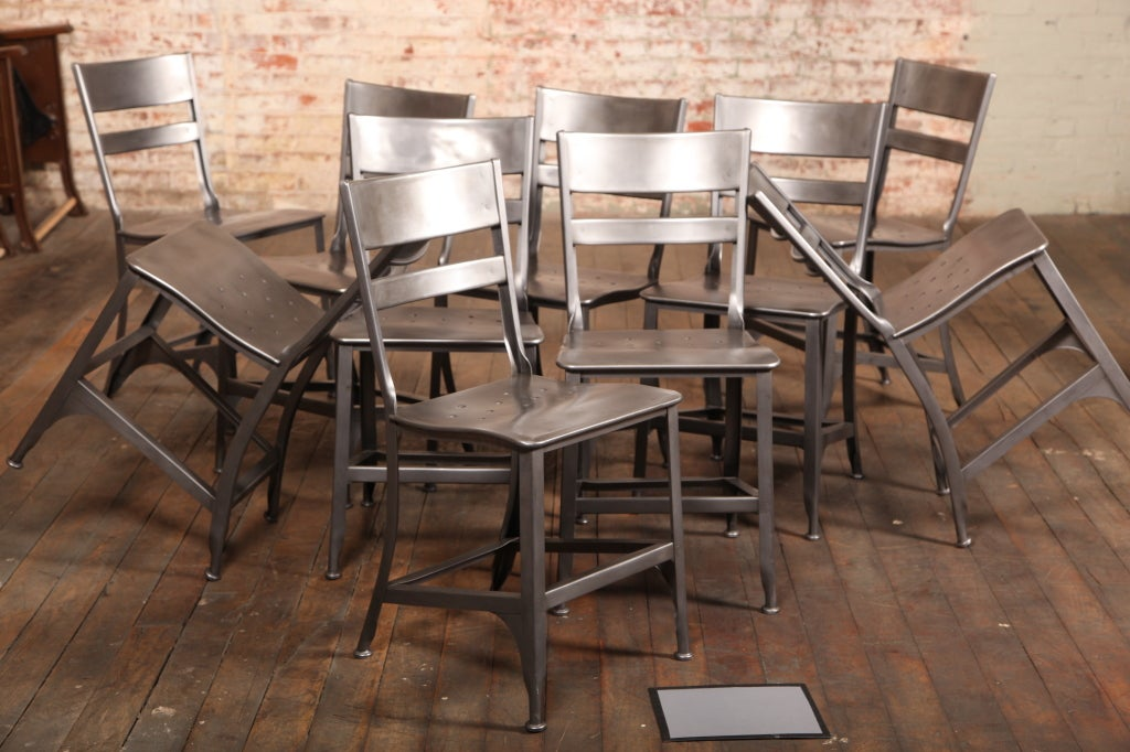 Set Of Ten Original Vintage Industrial Metal Toledo Dining Side Chairs Sea