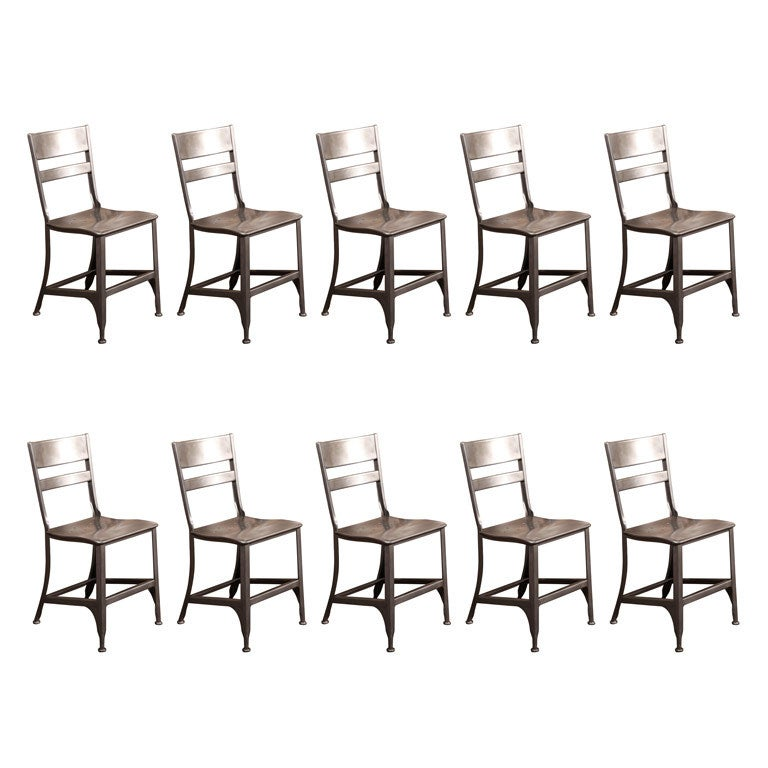Set Of Ten Original Vintage Metal Toledo Dining Side Chairs Seats 1