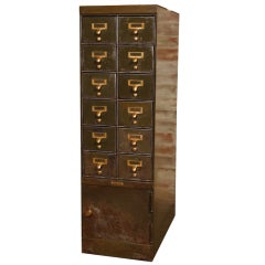 Vintage Industrial Steel, Metal & Brass Multi Drawer Storage Filing Cabinet
