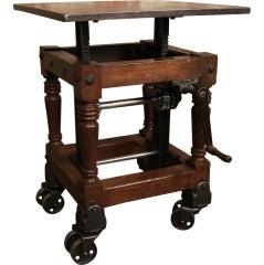 Original, Vintage Industrial, American Made, Adj. Crank Table