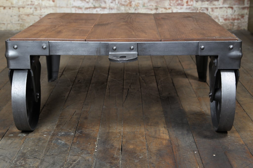 Original Vintage Industrial American Made Cart Coffee Table At