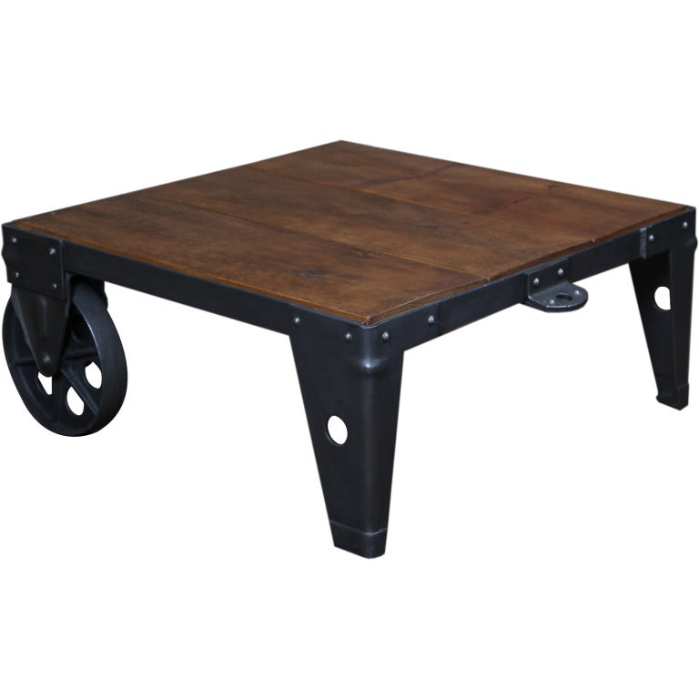 original  vintage industrial  american made  cart  coffee table at 1stdibs