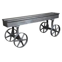 Vintage Industrial Cast Iron and Steel Console Table Base Factory Cart on Wheels