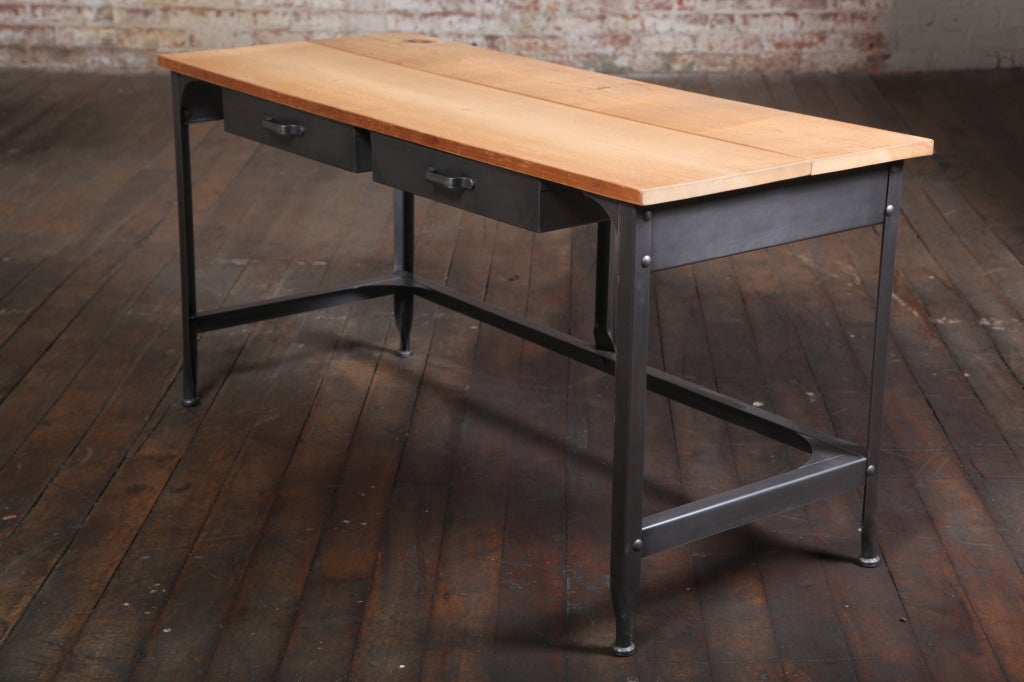 Student work desk vintage industrial american made steel for Metal desk with wood top
