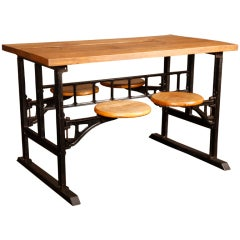 Vintage industrial cast iron glass adjustable conference for Cast iron and glass dining table