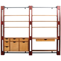 Modular Customizable Wall System, Shelving Storage Unit with Desk
