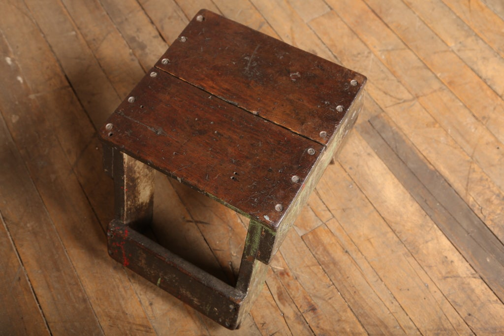 Original Vintage Industrial American Made Wooden Footstool 3 & Original Vintage Industrial American Made Wooden Footstool at ... islam-shia.org