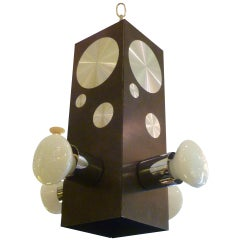 1970s Op to Pop Machine Turned Disc Four-Light Pendant