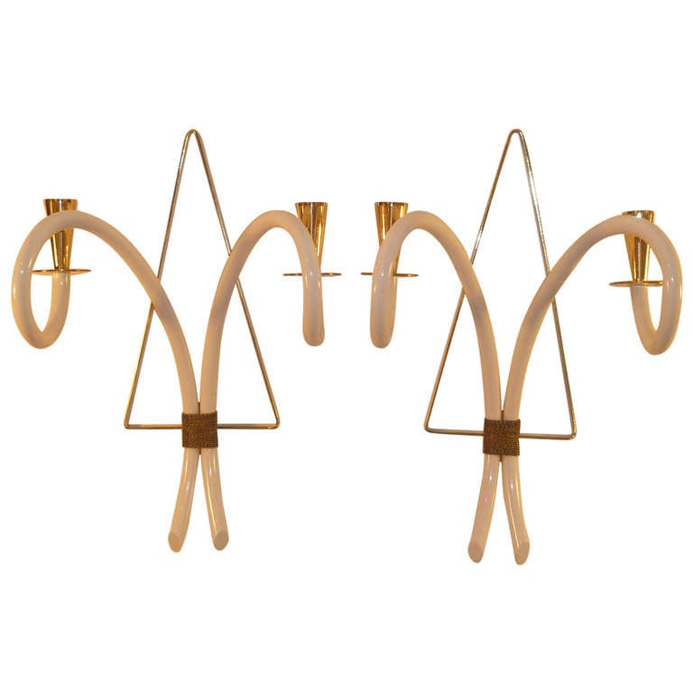 Elegant, 1940s Sconces Brass and Galalith French Appliques