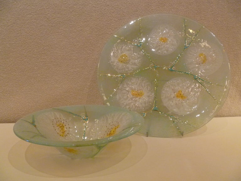 Large Michael & Frances Higgins Fused Glass Charger and Bowl For Sale 4