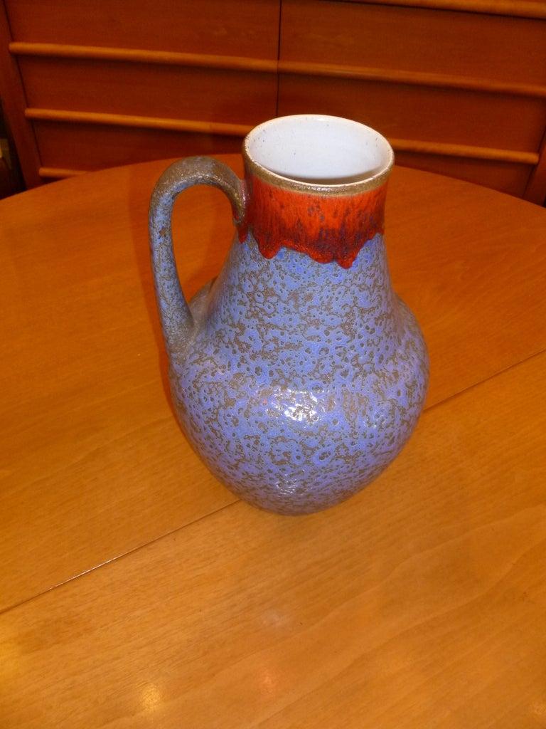 German U Keramik Selenium Drip Glaze Ewer Vase For