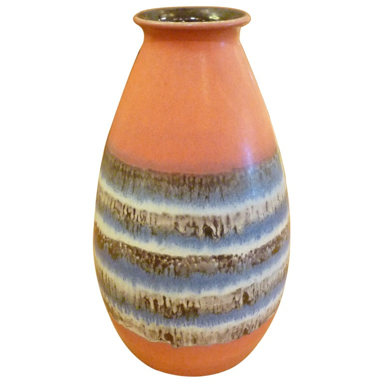 Large Dumler Breiden Drip Glaze German Pottery Vase at 1stdibs