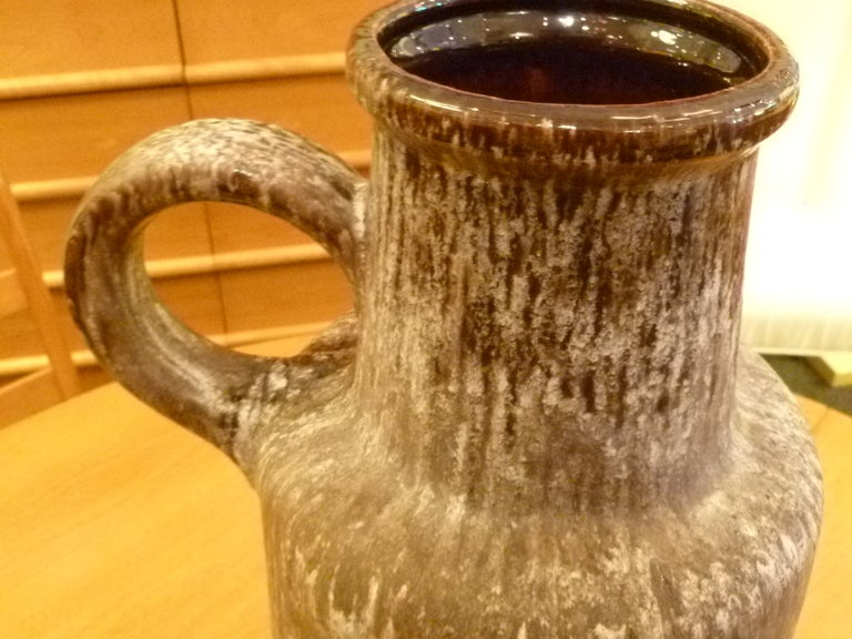 Pottery Great German Frothy Hot Lava Floor Vase Ewer For Sale
