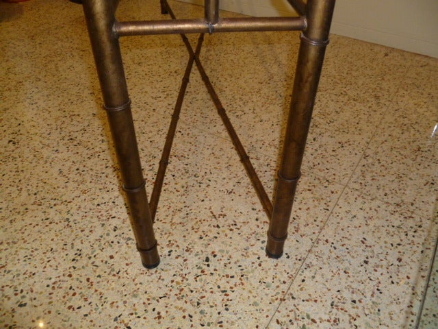 Long Faux Bamboo Metal Console Table Antique Gold 10