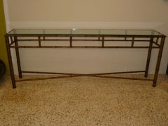 Long Faux Bamboo Metal Console Table Antique Gold image 2