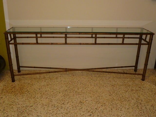 Long Faux Bamboo Metal Console Table Antique Gold 2
