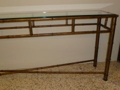 Long Faux Bamboo Metal Console Table Antique Gold image 3