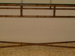 Long Faux Bamboo Metal Console Table Antique Gold image 4