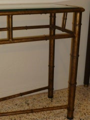 Long Faux Bamboo Metal Console Table Antique Gold image 6