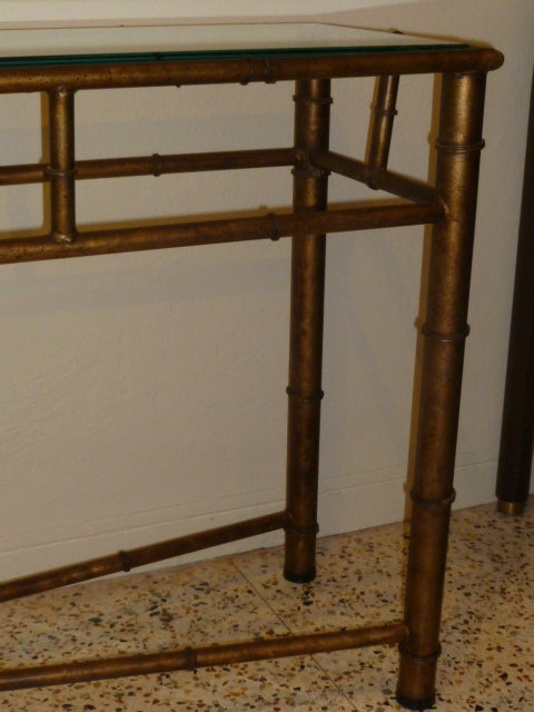 Long Faux Bamboo Metal Console Table Antique Gold 6
