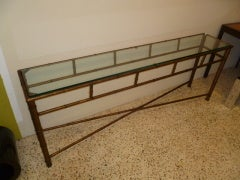 Long Faux Bamboo Metal Console Table Antique Gold image 7