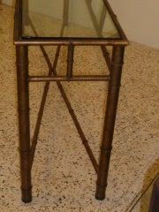 Long Faux Bamboo Metal Console Table Antique Gold image 8