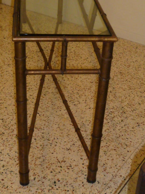 Long Faux Bamboo Metal Console Table Antique Gold 8