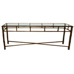 Long Faux Bamboo Metal Console Table Antique Gold