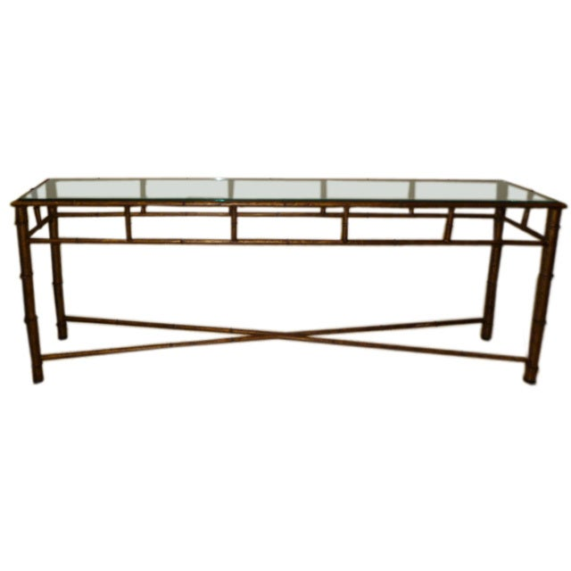 Long Bamboo Coffee Table: Long Faux Bamboo Metal Console Table Antique Gold At 1stdibs
