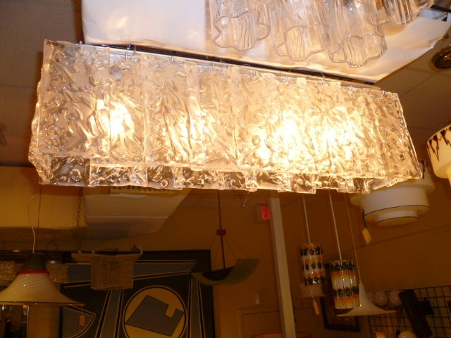Long Mazzega Ice Glass Flush Mount At 1stdibs
