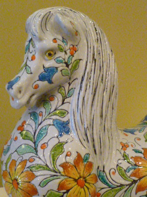 Mid-20th Century Magnificent Large and Fat Italian Horse Figure For Sale