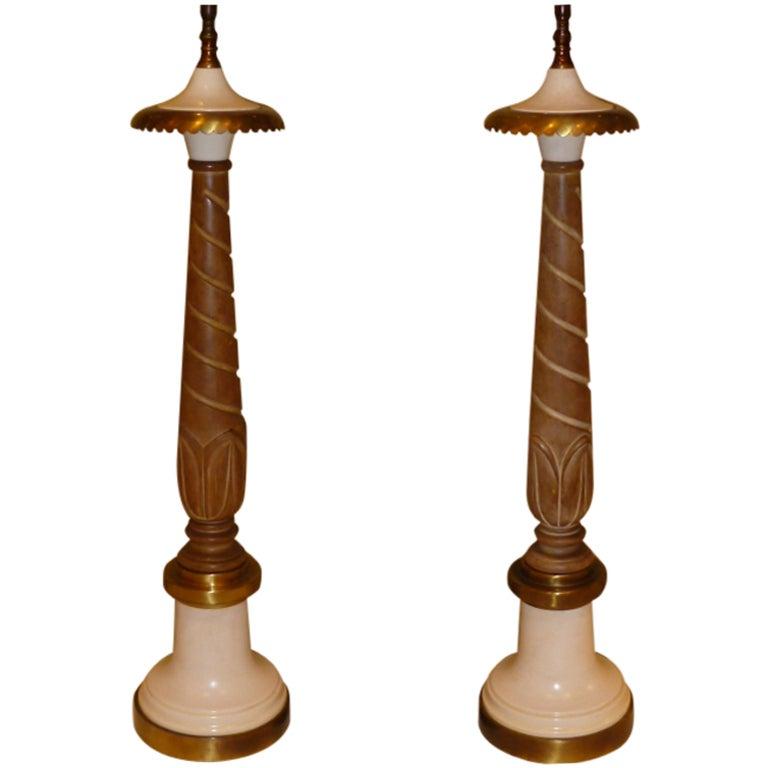 lotus carved cerused wood and brass columnar table lamps at 1stdibs. Black Bedroom Furniture Sets. Home Design Ideas