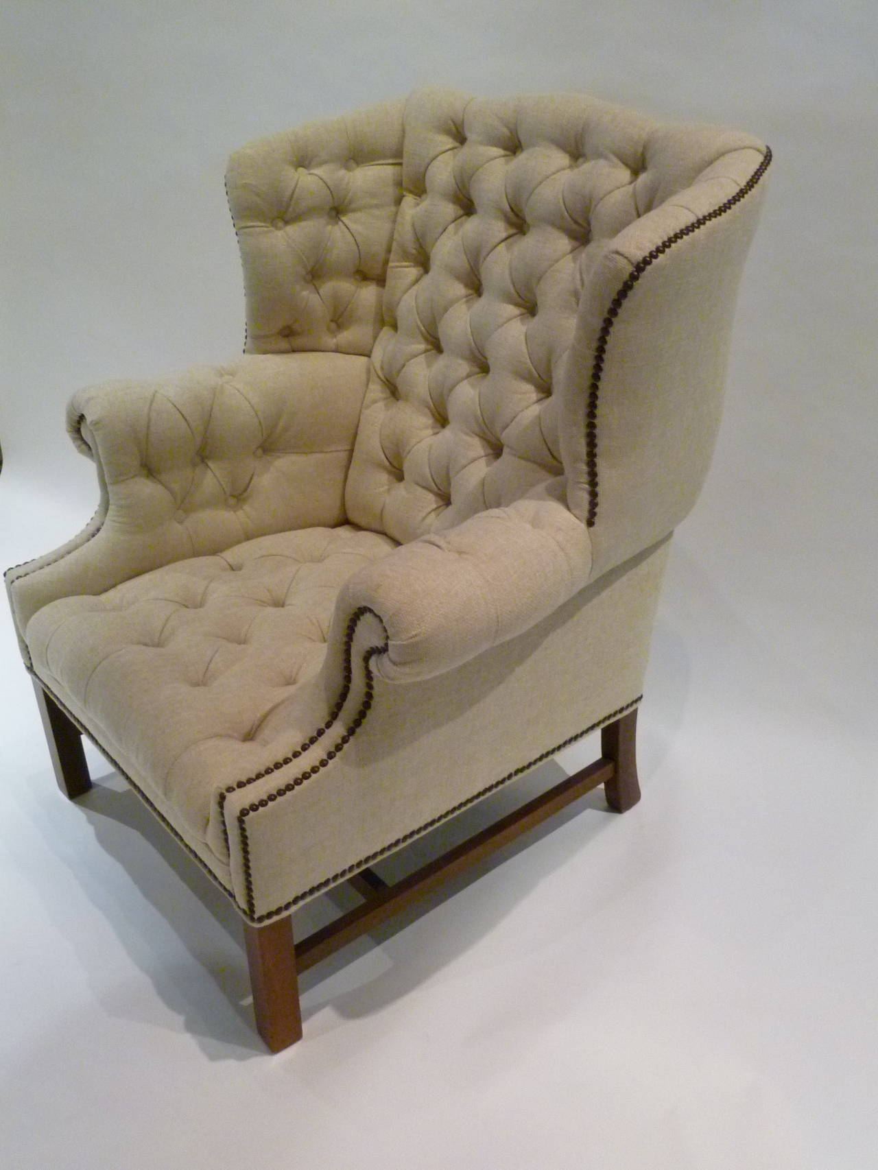 Pair of chesterfield style tufted wingback armchairs at for Decor jewelry chesterfield