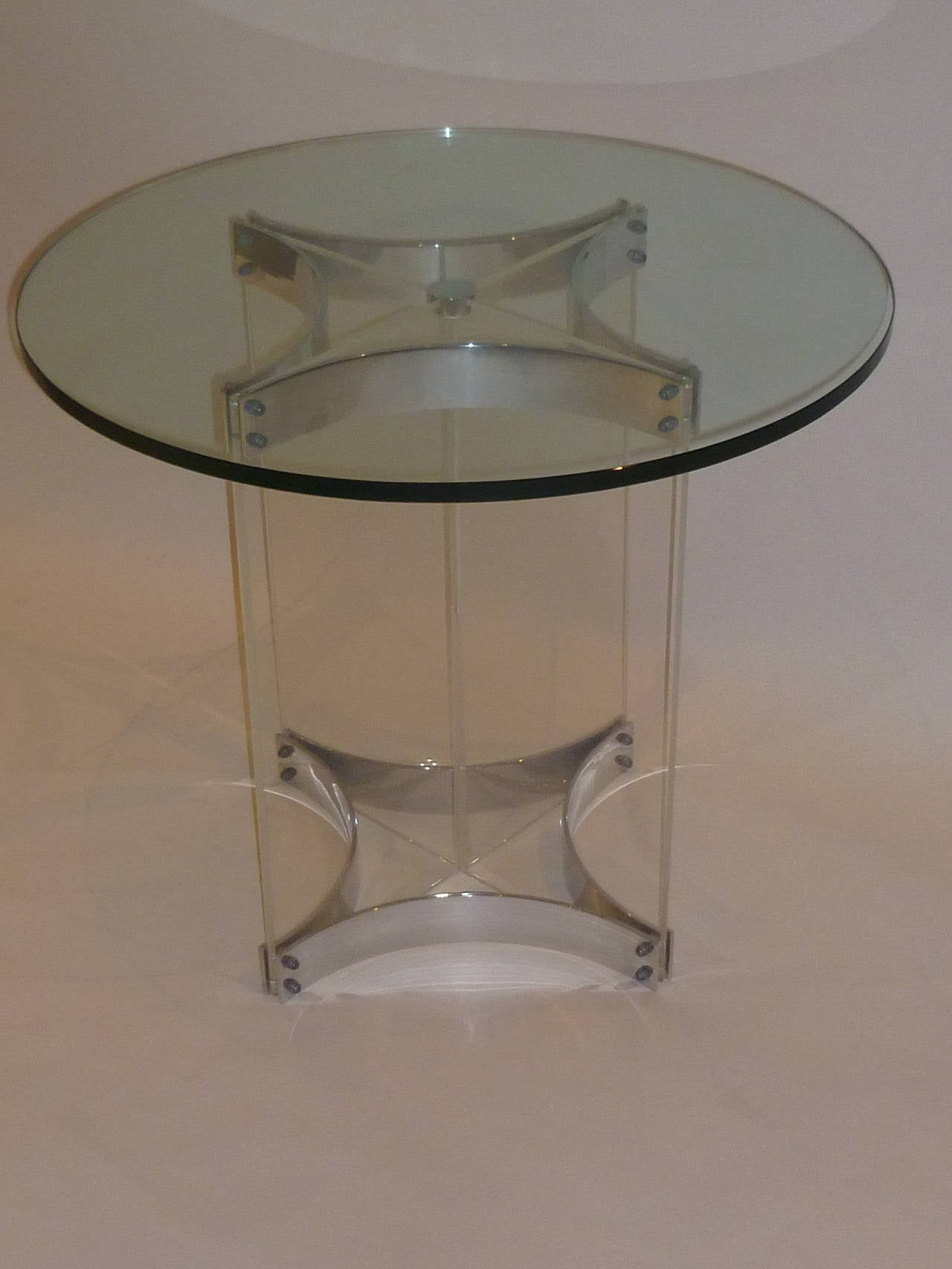 Large lucite chrome and brass coffee table at 1stdibs - Alessandro Albrizzi Lucite Glass And Chrome Side Table For